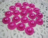 20 Hot Pink Acrylic Flat Back Flower Pearl Embellishments, Acrylic pearls for Scrapbooking Cards Mini Albums Tags Papercrafts Jewelry DIY