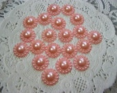 20 Light Salmon Acrylic Flat Back Flower Pearl Embellishments Acrylic pearls for Scrapbooking Cards Mini Albums Tags Papercrafts Jewelry DIY