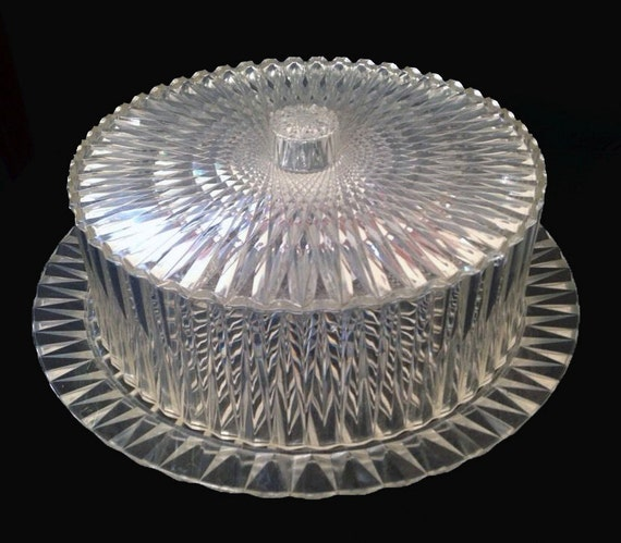 Vintage Cake Cover Amp Plate Clear Acrylic Diamond Cut Pattern