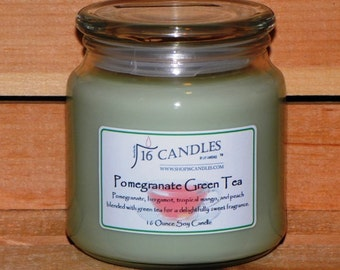 Pomegranate Green Soy Candle ~ 16 Ounce Jar ~ Sweet Fruity Fragrance ~ 16 Candles by J.P. Lawrence