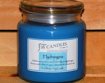 Hydrangea Soy Candle ~ 16 Ounce Jar ~ Fragrant Floral Aroma ~ 16 Candles by J.P. Lawrence