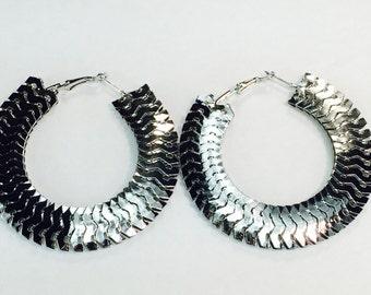 Silver Centipede 3 inch Hoop Earrings Buy 2 Get 1 Free