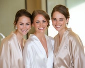 Bridesmaid Robes, CHAMPAGNE, wedding robes, bridesmaid silk robe, dressing gown, personalized robes, kimono robes, floral robe, bridal robe