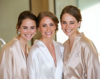 Bridesmaid robes Champagne wedding robes Beige bridesmaid silk robe dressing gown personalized robes kimono robes floral robe bridal robes