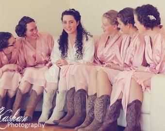 Bridesmaid Robes Blush Pink wedding robes bridesmaid silk robe dressing gown personalized silk robe kimono robes set floral robe bridal robe