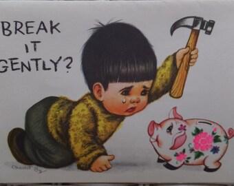Vintage Charlot Byj Little Boy Piggy Bank Happy Birthday Greeting Card Unused w/Envelope