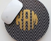METALLIC PINSTRIPE CHEVRON mousepad - with gold or silver foil monogram