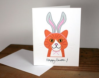 Happy Easter Cat Card, cat with bunny ears, bunny kitty, orange tiger cat, marmalade cat, rabbit ears, note card, smiling cat, chat, gato