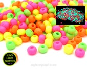 Neon Glass Seed Beads, Fluorescent Black Light Beads, Matte Finish 6/0, 1oz
