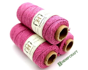 Pink Hemp Twine, 1mm Bubblegum Pink Craft Cord