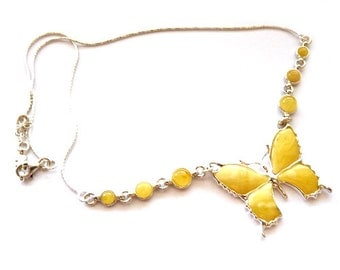 """Baltic Amber Butterscotch Butterfly Necklace Natural Chain 18.5"""" 925 Silver"""