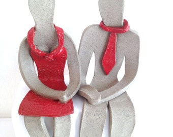 Wedding gifts for couple , Handmade Couple sculptures , Figure sculptures , Anniversary gift , Valentine's Day gift - Red , Gray