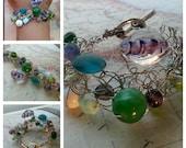 SALE.  Purple and Green Wire Crocheted Bracelet. Sea Glass