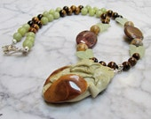 Fox - Protection -  Olive and Brown Natural Stone and Crystal Chakra Balancing Necklace with Hand Carved Jade Butterflies and Jasper Pendant