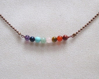 UNISEX Mens Womens Full Spectrum Natural Stone and Crystal Chakra Bar Necklace with Copper Chain