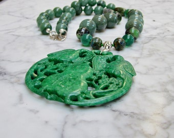 Prosperity and Luck -  Natural Bright Grass Green Stone and Crystal Heart Chakra Balancing Necklace with Hand Carved Aventurine Bird Pendant