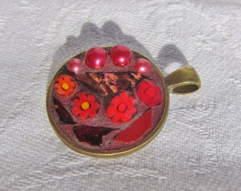 Red Mosaic Pendant