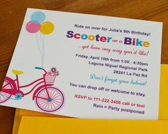 Girl Bike and Scooter party / Outdoors party : Birthday invitations - Set of 12