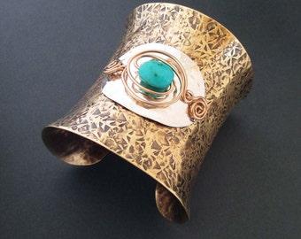Genuine Turquoise Cuff Bracelet Hammered Bronze Sterling Silver Wide Cuff Artisan Handmade Bohemian Boho Festival Jewelry Statement Bracelet