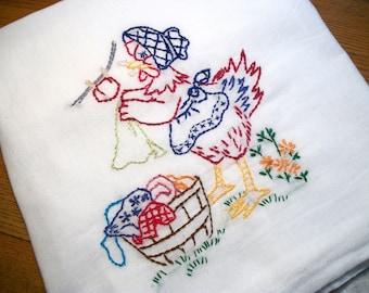 Flour Sack Dish Towel Cotton Dish Towel Laundry Hen Dish Towel Chicken Tea Towel Hand Embroidered Dish Towel