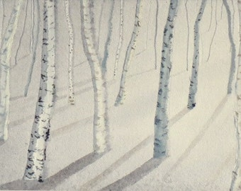 Original watercolour painting of birch trees in snow
