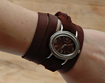 Brown Leather Wrap Watch Cuff Bracelet, wrap around watch, leather watch