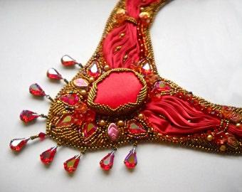 Shibori Bead Embroidery statement necklace  - PICK YOUR COLOUR -  red wine gold - Bead Embroidered shibori silk ribbon