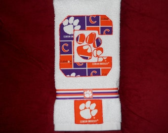 Clemson University Tigers Hand Towel Bathroom, Kitchen, Bar, Grill, Grad Gift