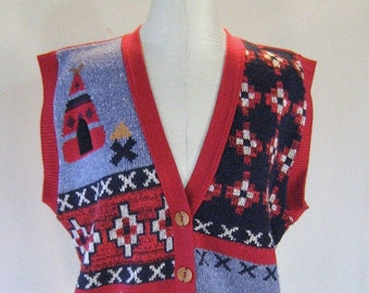 Coyote Indian Knit Sweater Vest Top