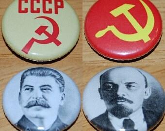 Communist Russia CCCP Badge Set 25mm / 1 inch Joseph Lenin - Vladimir Stalin - Punk