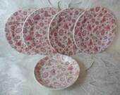 Antique 1882 Ridgeways RED CHINTZ Child's China Plates & Bowl - England