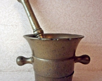 Antique 1763 Solid Brass Mortar and Pestle - Apothecary