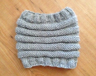 Chunky Knit Wool Blend Cowl - Unisex - Light Grey - Ready to Ship