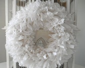 "white rag wreath shabby decor chic decor wreath wedding decor door wreath wedding wreath year round decor cotton wreath MADE TO ORDER 15"""