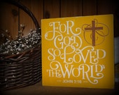 For God So Loved The World John 3:16 Christian Cross Easter Sign Decoration