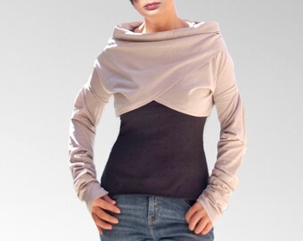 Like Women asymmetrical tops/ Ecru Extra Long Sleeve Shrug Bolero/mini vests/wrap tops