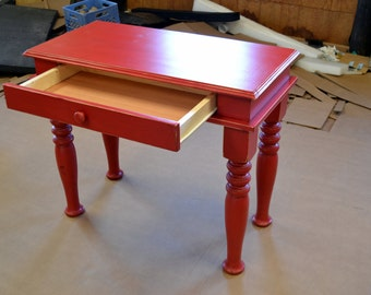 Handcrafted RED Writing DESK With Drawer and Beautiful Hand Carved Legs