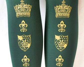 M Tall Crown Printed Tights Medium Tall Gold on Dark Forest Green Tights Womens Royal Shield Ren Lolita