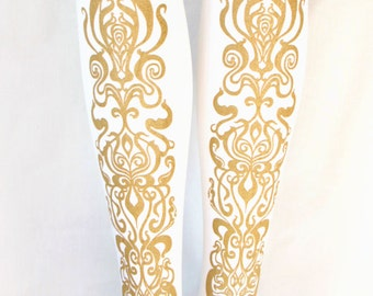 Art Nouveau Printed Tights Extra Large Gold on White Women Mucha Style Dolly Kei Classic Lolita Aristocrat