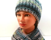 BEAUTIFUL winter set: SCARF and HAT. Teal, grey, black. Fringe. Crocheted scarf. Knitted hat. Adult set.