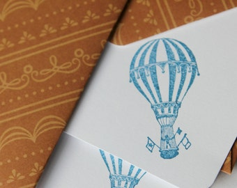 Set of 3 Stationery - Navy Blue Hot Air Baloon with Brown Designs- See the World