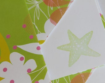 Set of 3 Stationery - Tropical Green Paradise Beach with Lime Green - Starfish
