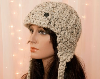 Cozy Aviator - Earflap Hat - For Women - Oatmeal - Tan - Made to Order - Pick Your Color