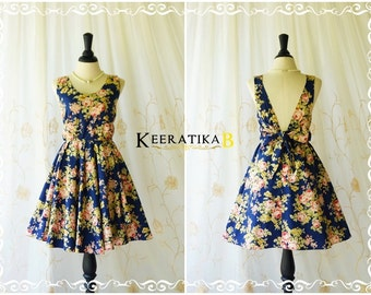Party V Backless Dress Floral Backless Dress Navy Dress Prom Party Dress Floral Bridesmaid Dress Navy Summer Sundress XS-XL