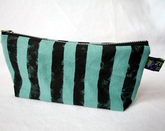 """Organic canvas zipper bag """"teal stripes"""" cosmetic pouch punk DIY turquoise"""