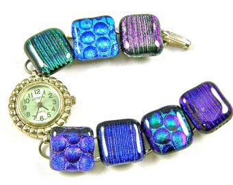 """Dichroic Watch Bracelet - Purple Blue Green Teal Violet Bubbles Fused Glass - 3/4"""" x 7.5"""" - 2cm - Textured Dots Reed Striped Nuggets"""