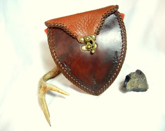 Brown Leather Belt Bag as Sporran, Adventurer Pouch, Personal Items Purse