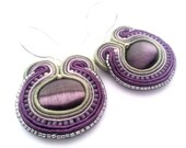 lavender and sage-  soutache earrings  free shipping
