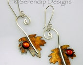 Sterling Silver Patina Maple Leaf Earrings with Baltic Amber, Silver Spiral Leaves, Canadian Maple Leaf Earrings