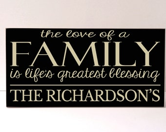 Love of Family Personalized Family Sign, Home Decor, Wood Sign, Family Home Decor, Family Sign, Art for Family, Family Name